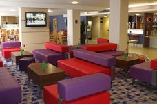 Seating in the bar at the Holiday Inn Express